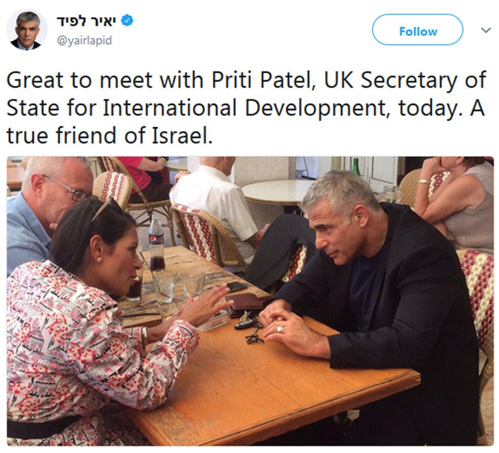 Yesh Atid leader Yair Lapid praises Patel on Twitter