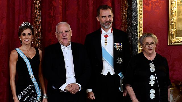 Queen Letizia, President Rivlin, King Felipe and Nechama Rivlin (Photo: AP)