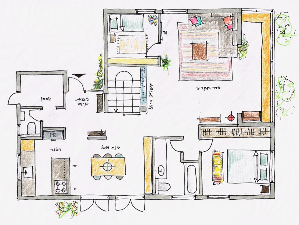 """לתכנון השיפוץ, הראשון שנעשה בו מאז שנבנה, נבחרה מעצבת הפנים יוני פרידמן. """"התפקיד שלי היה רק לכוון ולעזור איפה שצריך"""", היא אומרת. הפונקציות העיקריות של הבית נותרו במקומן (תוכנית: יוני פרידמן)"""