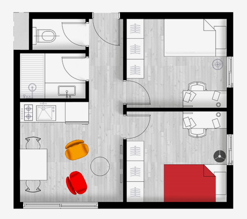 אחד מ-5 טיפוסי הדירות (תוכנית: בר אוריין אדריכלים / שוורץ בסנוסוף אדריכלים)