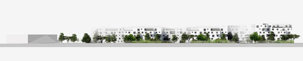''החלטנו להתחבר לעיצוב של הבנייה ממול – בנייה נמוכה עם חצרות'', מוסיף גידי בר אוריין. ''רצינו לתת תחושה של עיר מדברית שיש בה סמטאות, המון צל וחצרות פנימיות'' (הדמיה: בר אוריין אדריכלים / שוורץ בסנוסוף אדריכלים)