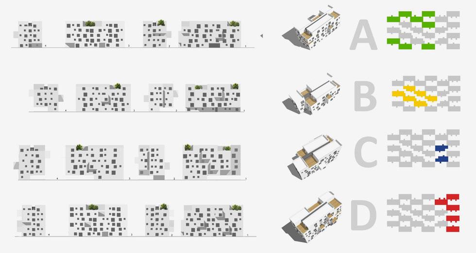 במקור, תוכנית-האב לקמפוס הצפוני הציעה שהמעונות יהיו 10 בלוקים של 10 קומות כל אחד, שמקיפים חצר פנימית גדולה. בסופו של דבר, פריסת המבנים נראית אחרת. ''אמרנו שקודם כל אנחנו צריכים צל'', מספר האדריכל גבי שורץ, ''ולכן בחרנו במבנים נמוכים יותר, מטיפוס 'שטיח', שמזכירים לוח שחמט'' (הדמיה: בר אוריין אדריכלים / שוורץ בסנוסוף אדריכלים)