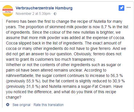 הפוסט המקורי (עמוד הפייסבוק Verbraucherzentrale Hamburg) (עמוד הפייסבוק Verbraucherzentrale Hamburg)