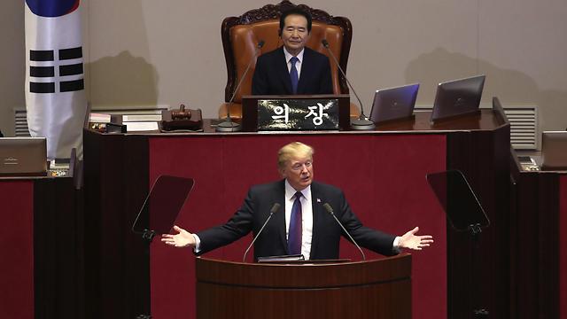 """""""עינינו נשואות ליום שבו כל הקוריאנים יהיו חופשיים"""", טראמפ באסיפה הכללית (צילום: AP) (צילום: AP)"""
