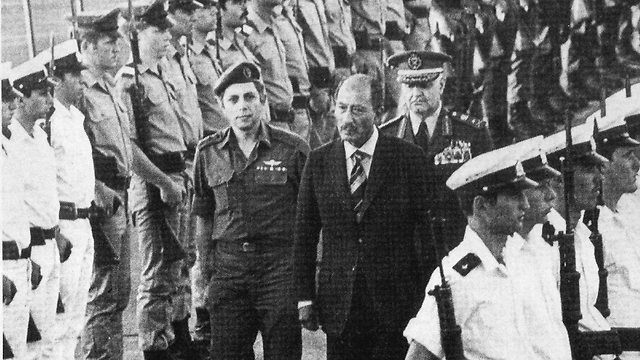 Reception ceremony in honor of Sadat at Ben-Gurion Airport  (Photo courtesy of Menachem Milson)