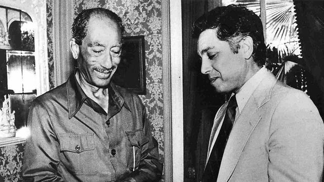 Sadat with Milson. 'He raised his hands and shouted, Bravo!' (Photo courtesy of Menachem Milson)