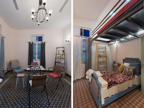 בזכות התקרה הגבוהה נוספה מיטה בגלריה (מימין). המנורות נרכשו בשוק הפשפשים  (צילום: ליאור גרונדמן)