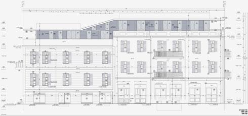 הבדל הגבהים בין שני הבניינים ניכר, ומעל שניהם נראית הקומה שנוספה בשיפוץ    (תוכנית: גל פלג אדריכלים)