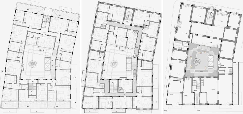 תוכניות הבניין המחובר. במרכז נראית החצר הפנימית שיצרו האדריכלים  (תוכנית: גל פלג אדריכלים)