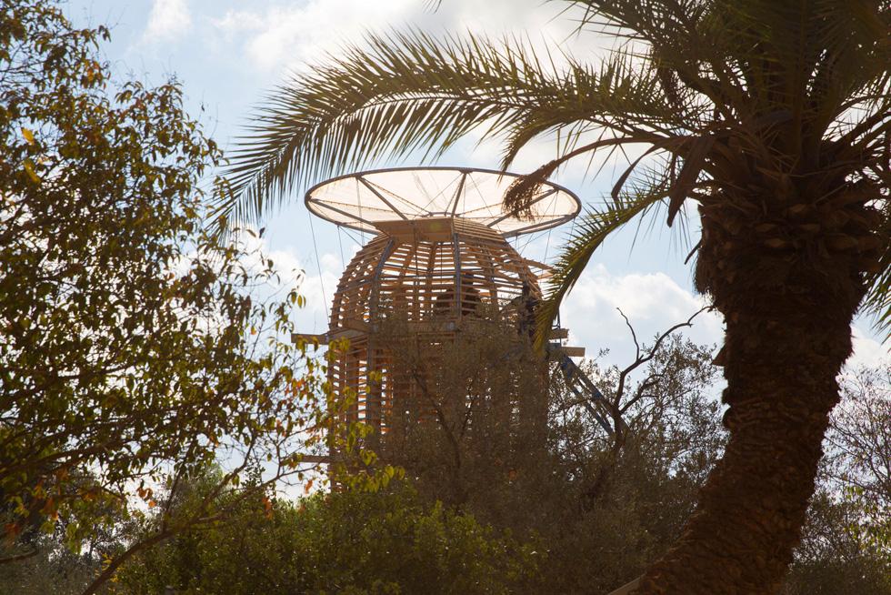 15 מטר גובה, אחריות עקרונית למאה שנה. מגדל הקקטוס החדש בבית הנסן (לשעבר בית החולים למצורעים) בטלביה (צילום: דור נבו)