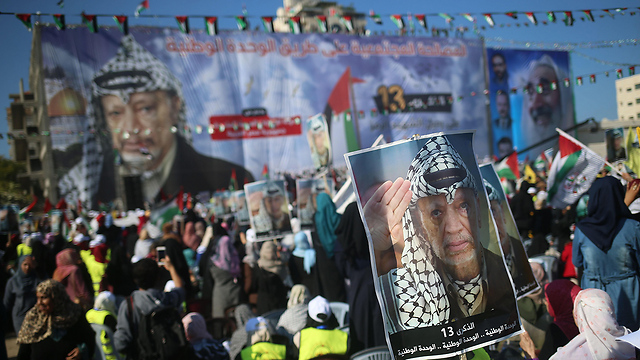 Hamas allowed Fatah to hold a mass rally commemorating the 13th anniversary of Arafat's death (Photo: AFP)