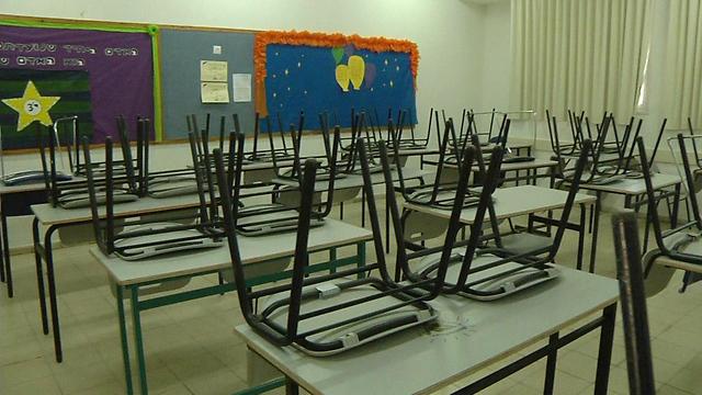כיתב ריקה בתיכון חדרה, הבוקר (צילום: שמיר אלבז)