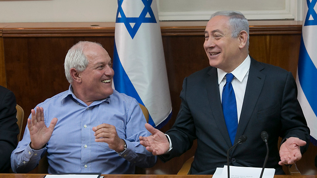 Minister Haim Katz and PM Netanyahu (Photo: Olivier Fitoussi)