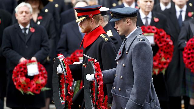 הנסיכים האחים מניחים זרי פרחים באנדרטת המלחמה. ויליאם והארי (צילום: AFP) (צילום: AFP)
