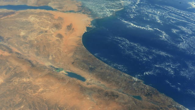 Israel from space (Photo: Randolph Bresnik, NASA)