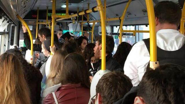 עומס בקווי האוטובוס לאוניברסיטה העברית (צילום: אגודת הסטודנטים האוניברסיטה העברית) (צילום: אגודת הסטודנטים האוניברסיטה העברית)