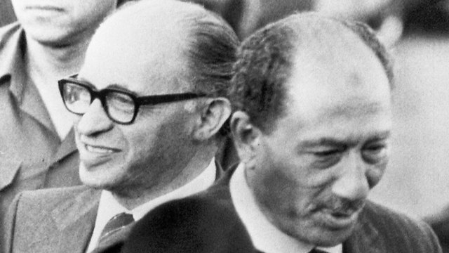 Sadat (R) and Begin in Israel. Was the psychological barrier broken? Only in the immediate run      (Photo: AP)