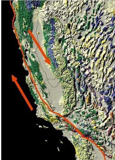 """העתק סן אנדראס במדינת קליפורניה בארה""""ב הוא דוגמה להעתק הנמצא בגבול טרנספורם בין שני לוחות טקטוניים: הלוח הצפון אמריקני והלוח הפסיפי. הלוח הימני נע דרומה, בעוד השמאלי נע צפונה. סן אנדראס זה הוא דוגמה להעתק שצפוי להתפרץ בקרוב ולהביא לרעידת אדמה הרסנית בערים הגדולות בקליפורניה: סן דייגו, לוס אנג'לס וסן פרנסיסקו. התמונה באדיבות USGS, ארה""""ב (איור: באדיבות מדע גדול, בקטנה)"""