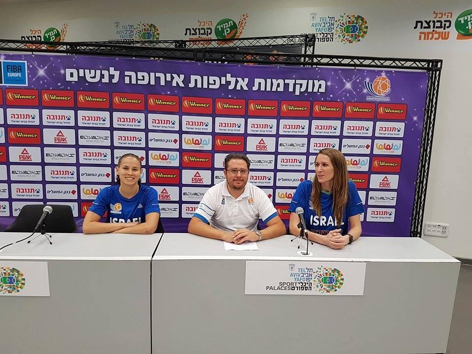 לויצקי, ענבר ושפיר במסיבת העיתונאים (צילום: איגוד הכדורסל)