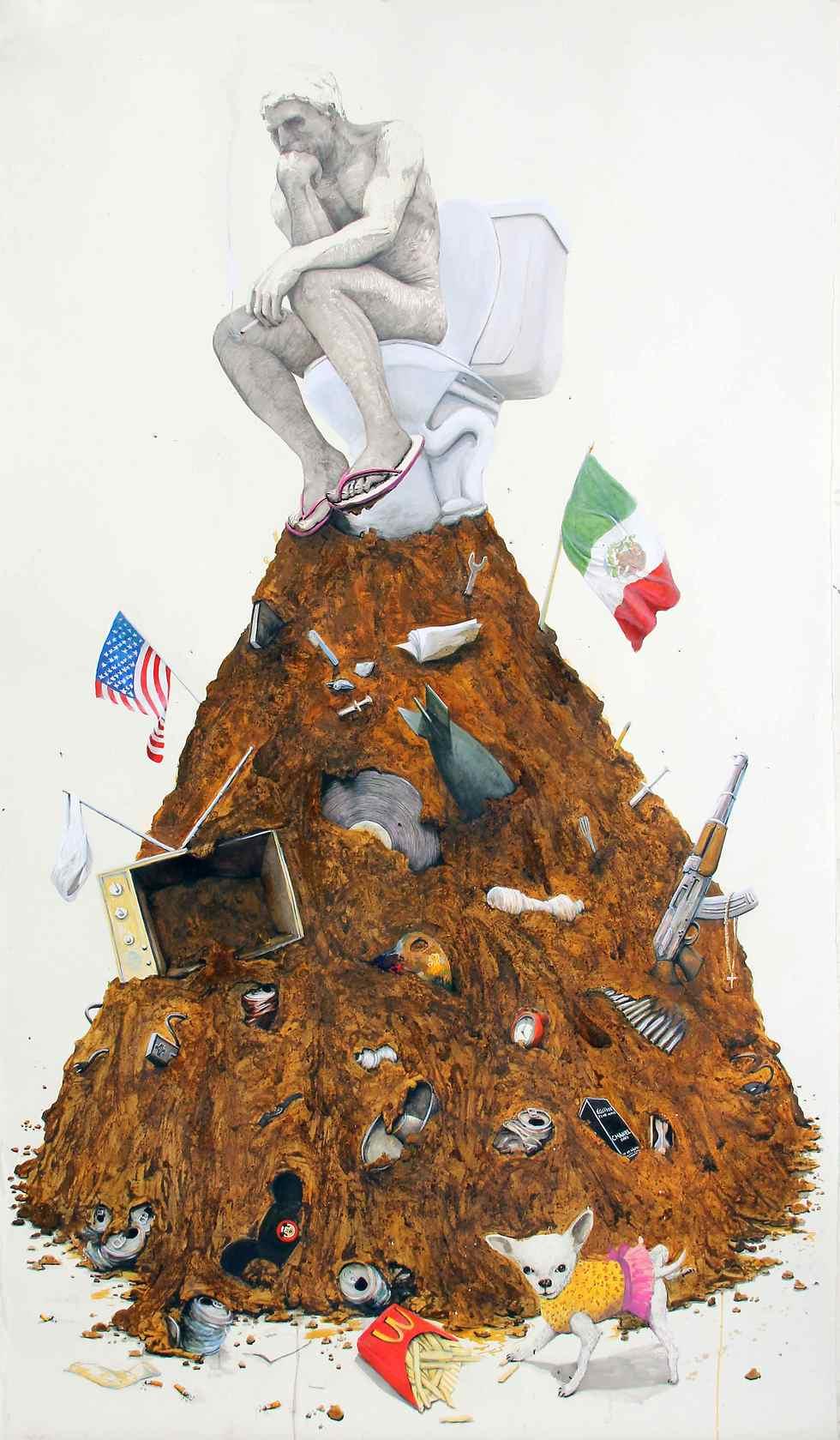 """""""העניין הוא לא החומר עצמו של האשפה"""" (CRUMBS AND DETRITUS, ציור מאת רודריגו איימז) (CRUMBS AND DETRITUS, ציור מאת רודריגו איימז)"""