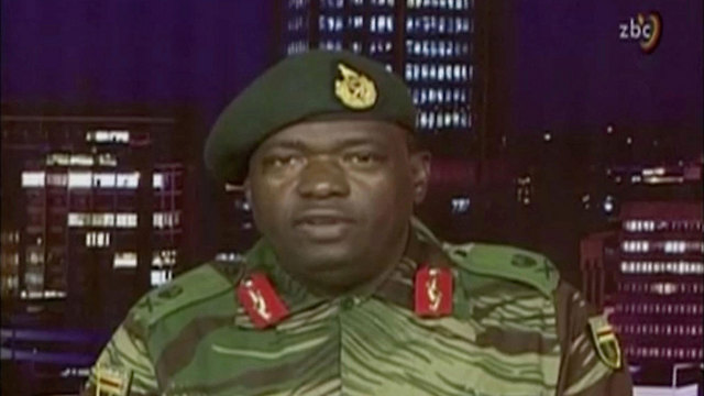 Major General SB Moyo announced the pseudo-coup on state television (Photo: AP)