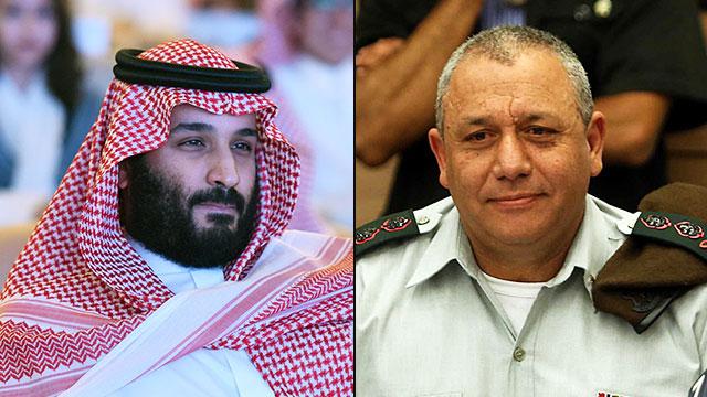"""המסר מכוון אליו. הרמטכ""""ל איזנקוט ויורש העצר הסעודי בן סלמן (צילום: גיל יוחנן, AFP)"""