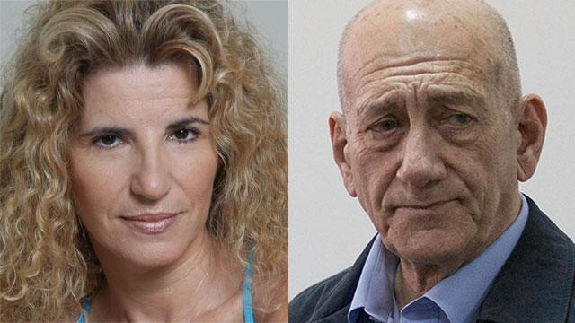 Hadas Shteif (L) and Ehud Olmert (Photo: Abigail Uzi, EPA)