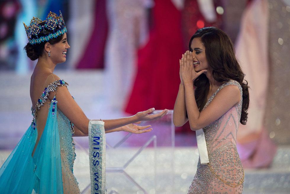 מיס עולם היוצאת סטפני דל וול מפוארטו ריקו ברגע ההכרזה על הזוכה (צילום: AFP)