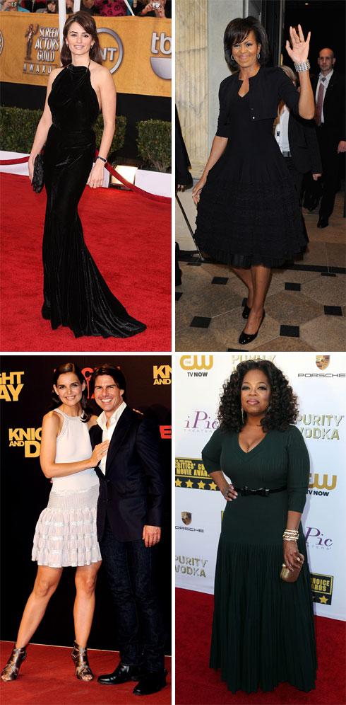 בין הלקוחות של אלאיה: מישל אובמה, אופרה ווינפרי, קייטי הולמס ופנלופה קרוז (צילום: Gettyimages, AP)