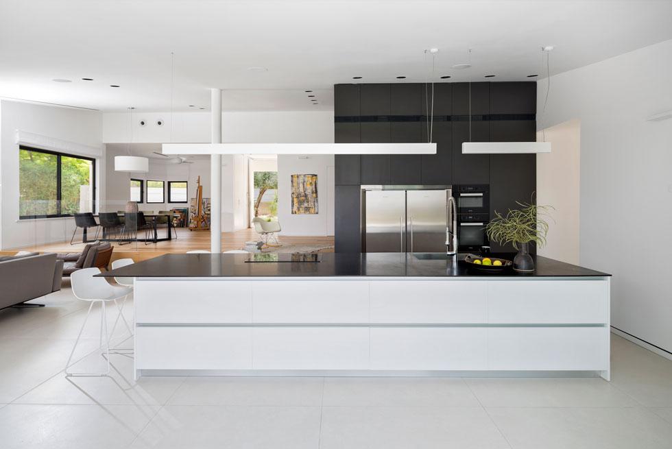 במטבח יש קיר של ארונות גבוהים כהים ומולם אי לבן שבו כיור וכיריים. קיר הארונות הוא אחת מצלעותיה של קוביית העץ שנבנתה בלב הבית (צילום: שי אפשטיין)