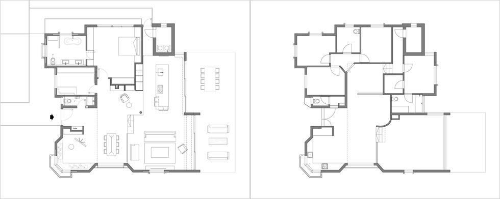 תוכנית הבית לפני השיפוץ (מימין) ואחריו: קירות הוסרו, המטבח והסלון עברו למפלס התחתון ושני חדרי שינה הפכו לחדר הורים מרווח (תוכנית: שחר-רוזנפלד אדריכלים)