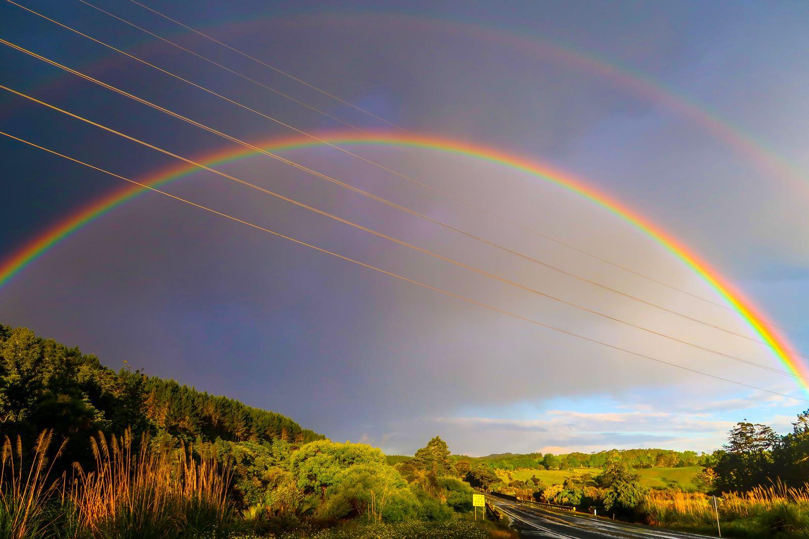לפעמים גם יוצא לצלם למעלה: קשת מרשימה בניו זילנד (צילום: אלון צנגוט) (צילום: אלון צנגוט)