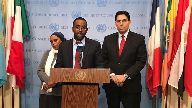 Ilan Mengistu with his mother and Ambassador Danon at the UN