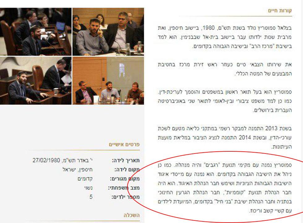"""היה מנהל """"רגבים"""". מתוך הדף של ח""""כ סמוטריץ' באתר הכנסת ()"""