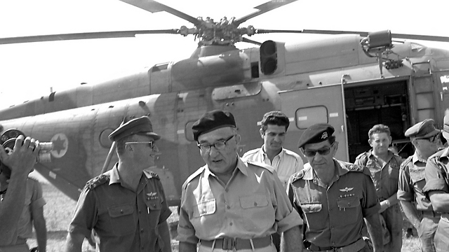 From left to right: IDF Chief of Staff Yitzhak Rabin, PM Levi Eshkol and Northern Command Chief David Elazar (Photo: Bamahane, courtesy of IDF Archive at Defense Ministry)