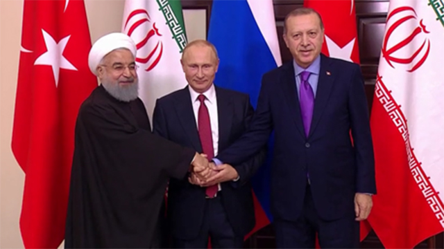 From left to right: Iranian President Rouhani, Russian President Putin and Turkish President Erdogan (Photo: RT website)