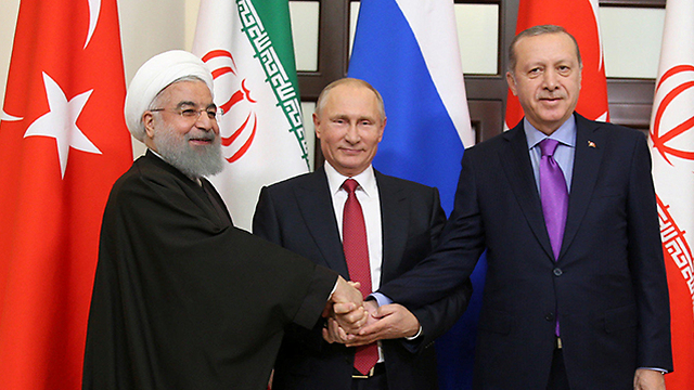 From left to right: Rouhani, Putin and Erdogan in Sochi last week. Conflicting interests won't allow an agreement (Photo: Reuters)