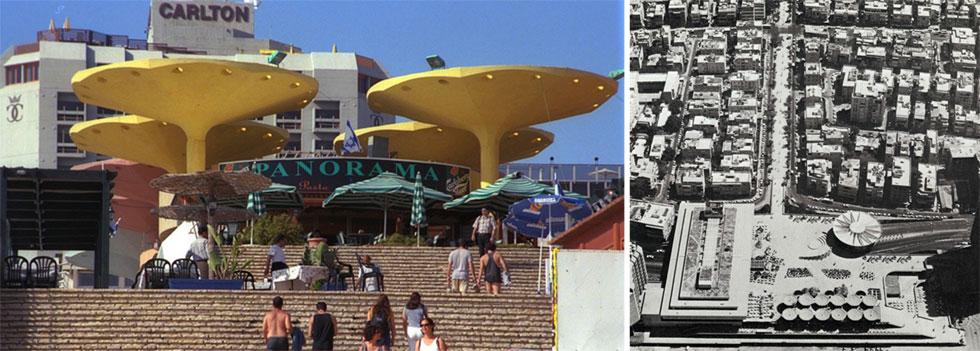 """הפרויקט הקדים את זמנו. מבין כל כשליו, נראה שהכשל המרכזי הוא הזנחה ממושכת מצד העירייה ובעלי הנכסים (צילום מימין: ארכיון אדריכלות ישראל, צילום משמאל: משה מילנר, לע""""מ)"""