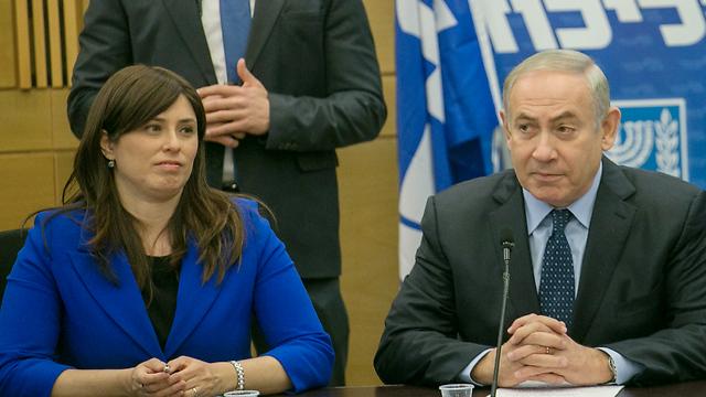 Deputy FM Tzipi Hotovely with PM Netanyahu (Photo: Ehud Zwigenberg)