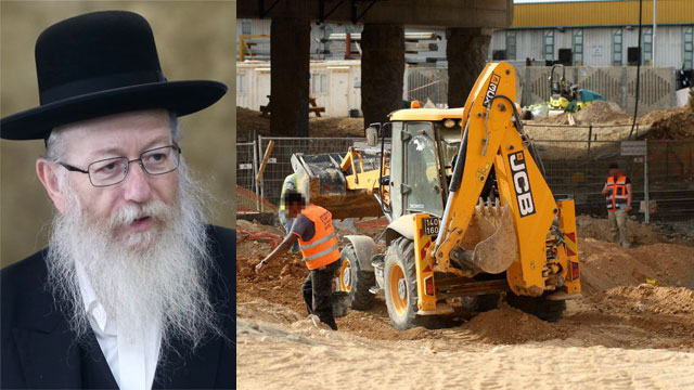 Litzman and train work performed on Shabbat (Photo: Alex Kolomoisky, Ido Erez)