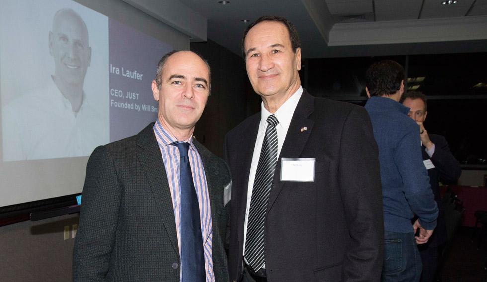 ברודי עם ראש המשלחת הכלכלית של ישראל לניו יורק ינון אלרואי. צילום: דור מלכה ()