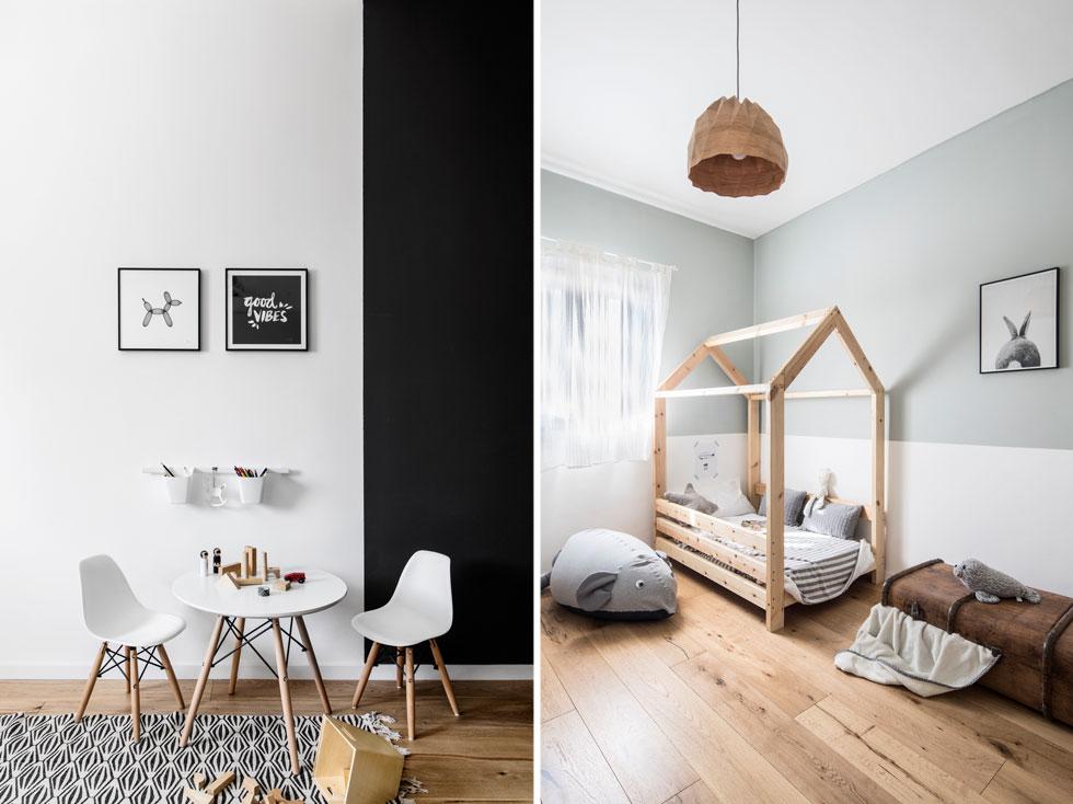 """חדרם של שני הבנים (מימין) בהיר. את המיטה בנה בעל הבית בעצמו.  פינת המשחק בממ""""ד שבקומה הראשונה (משמאל) נצבעה בחלקה בשחור. הפרקט והריהוט הבהיר מרככים את המראה הבלתי מתפשר (צילום: איתי בנית)"""