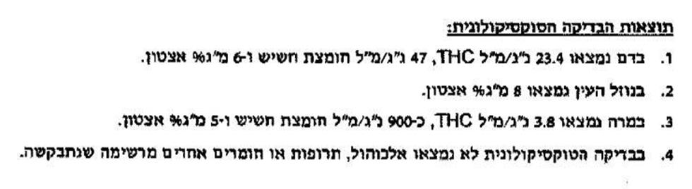 """החלק בדו""""ח שמעיד: בגופו של אמיר נותרו שרידי גראס רפואי ()"""