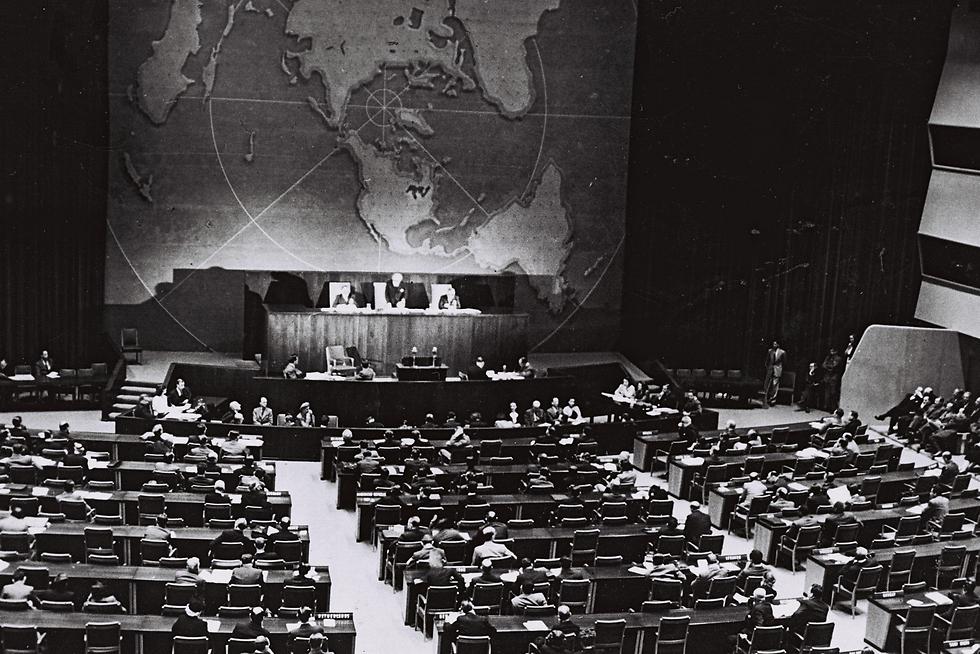 """עצרת האו""""ם בכ""""ט בנובמבר 1947 (צילום: לע""""מ) (צילום: לע"""