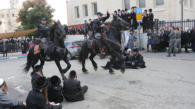 הפגנות החרדים נגד הגיוס בירושלים (צילום: אלכס קולומויסקי) (צילום: אלכס קולומויסקי)
