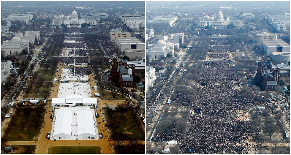 משמאל: טקס ההשבעה של הנשיא טראמפ בינואר. מימין: טקס ההשבעה של אובמה ב-2009 (צילום: רויטרס)