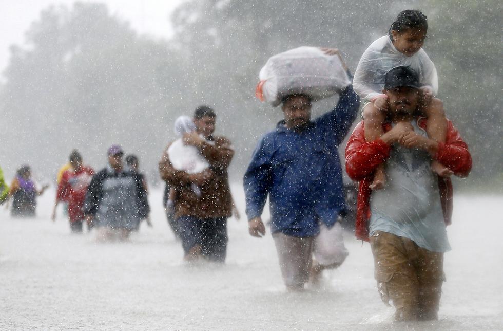 """פליטים בורחים מההצפות בטקסס במהלך ההוריקן """"הארווי"""" (צילום: רויטרס)"""