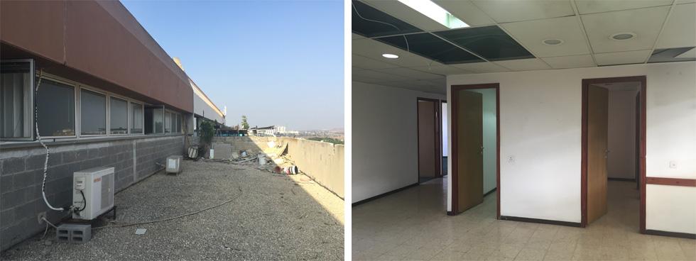 לפני השיפוץ: משרדים אפורים וסגורים, בלי גישה למרפסת. בשיפוץ  הוחלף הקיר ההיקפי בוויטרינות גדולות, המאפשרות יציאה מכל המשרדים (צילום: Dehab at work)
