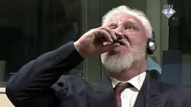 Convicted war criminal Praljak committing suicide by poison (Photo: AP)
