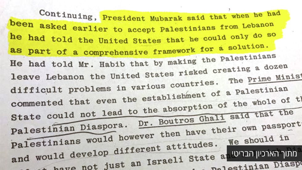 Part of the UK documents that stated Mubarak's agreement to resettle Palestinians in Sinai (Photo: BBC)